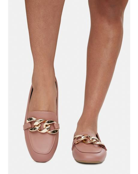 Mauve Reach New Heights Chain Loafer Flats