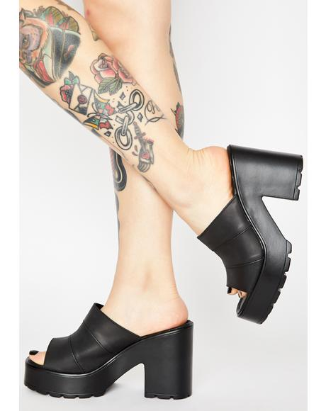 Black Minx Block Heels