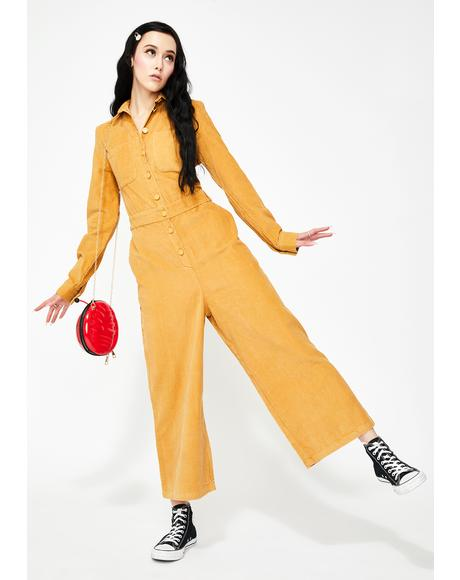 Lazy Mustard Corduroy Boilersuit