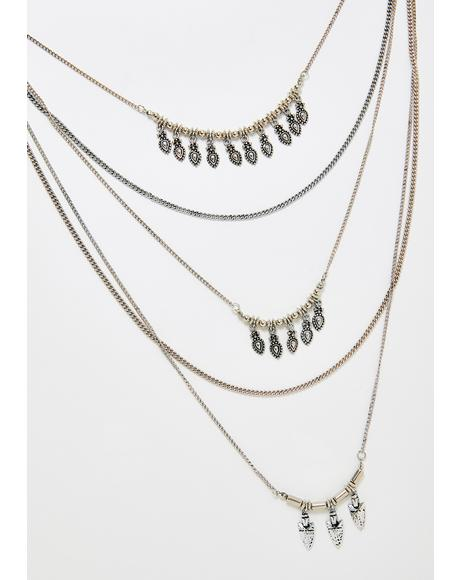 Platinum Goin' Up Layered Necklace