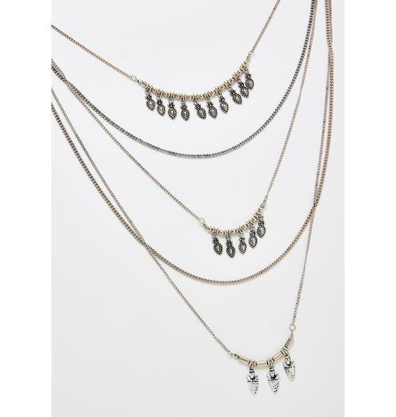 Platinum Goin' Up Layered Necklace