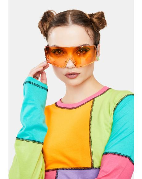 Amber Hit The City Oversized Shield Sunglasses