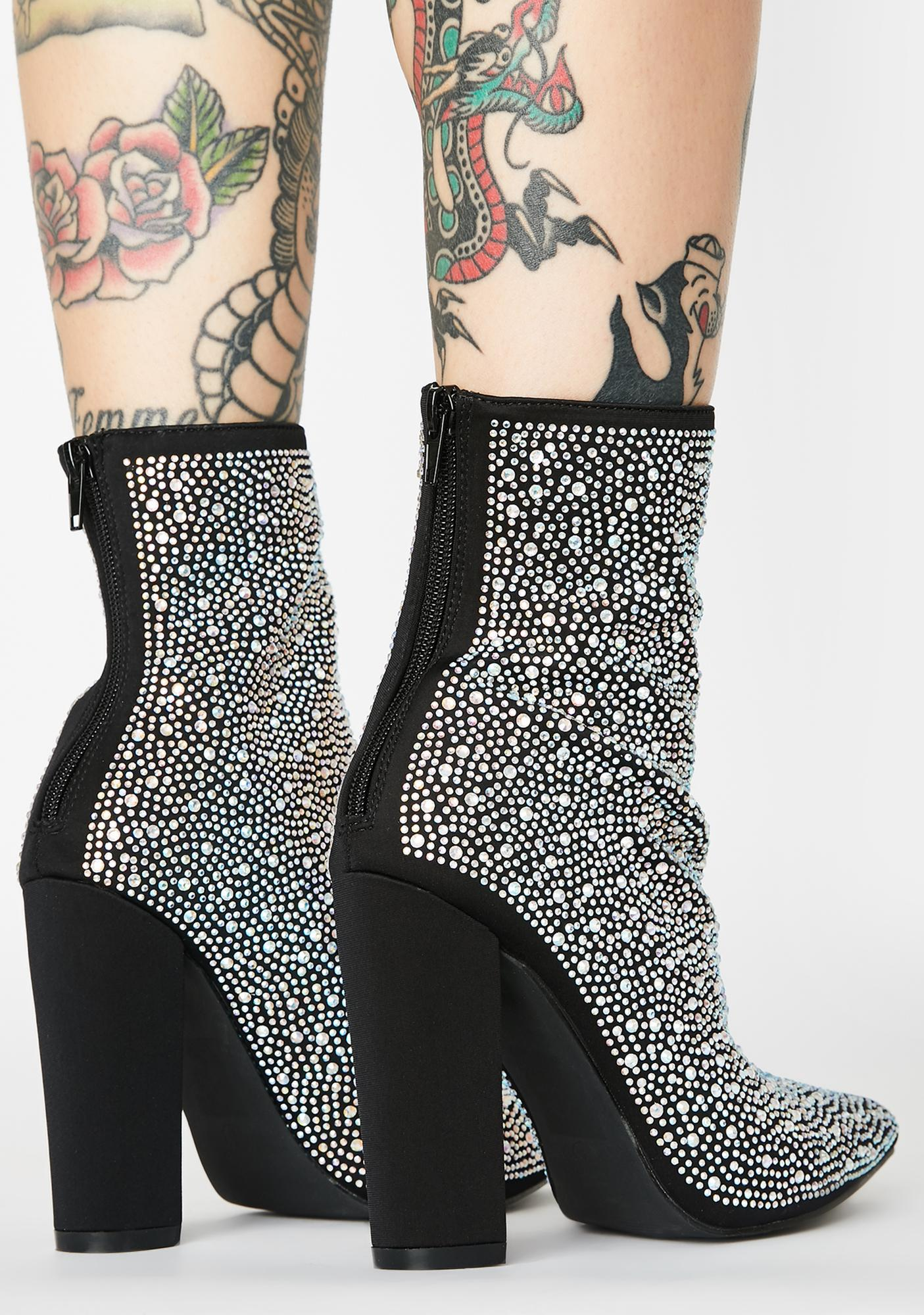 AZALEA WANG Don't Question The Path Rhinestone Booties