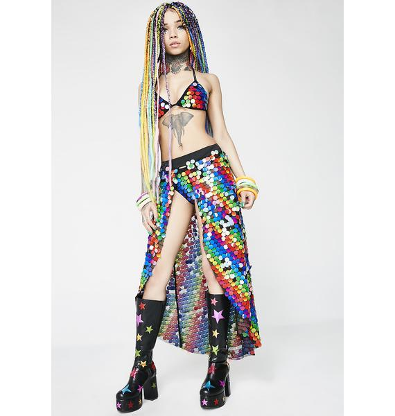 Jaded London Rainbow Sequin Beach Skirt