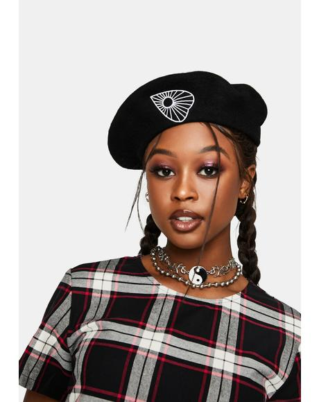 Black Ouija Beret Hat