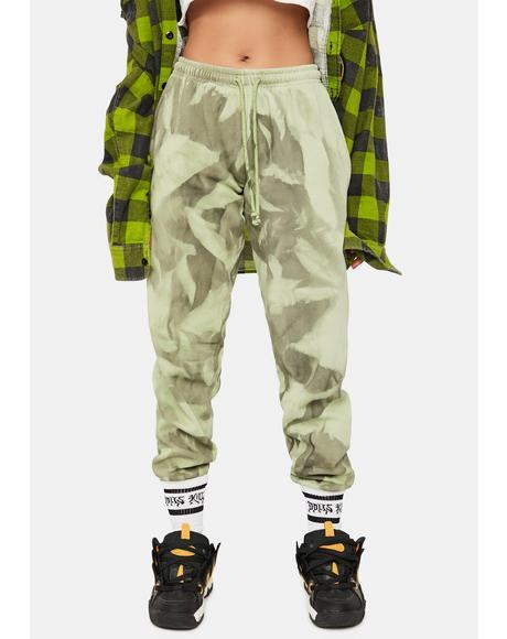 Green Tie Dye Oversized Joggers