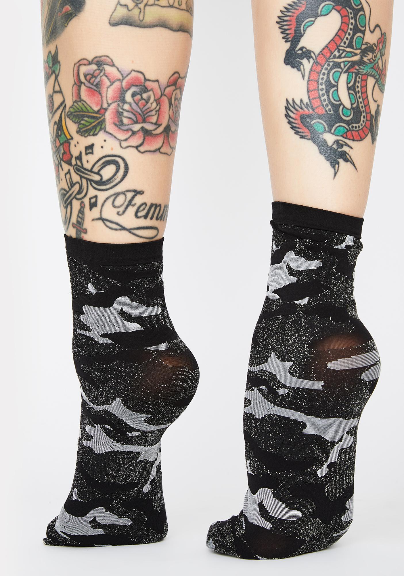 MeMoi Camo Shimmer Ankle Socks