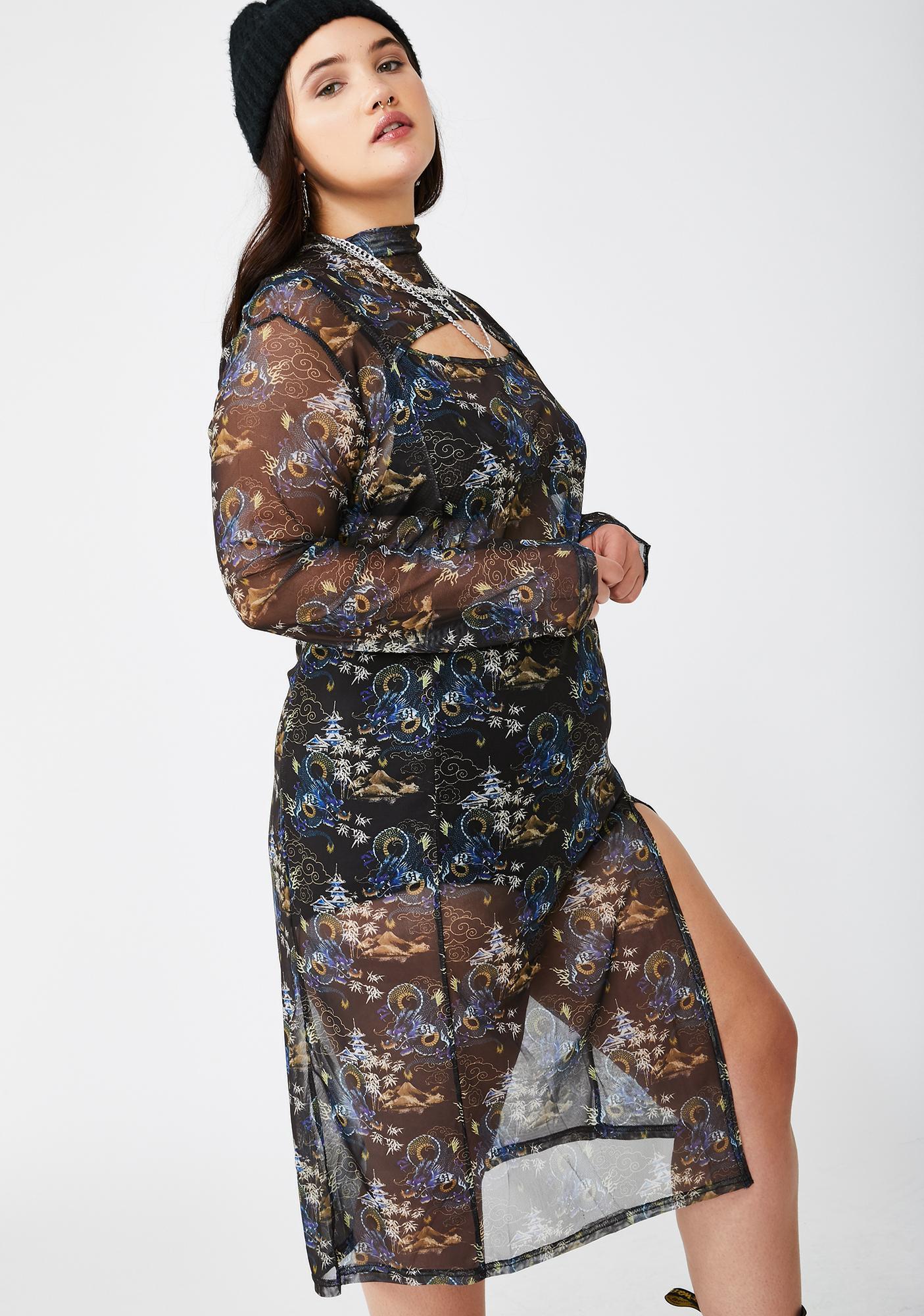 NEW GIRL ORDER Plus Dragon Mesh Midi Dress