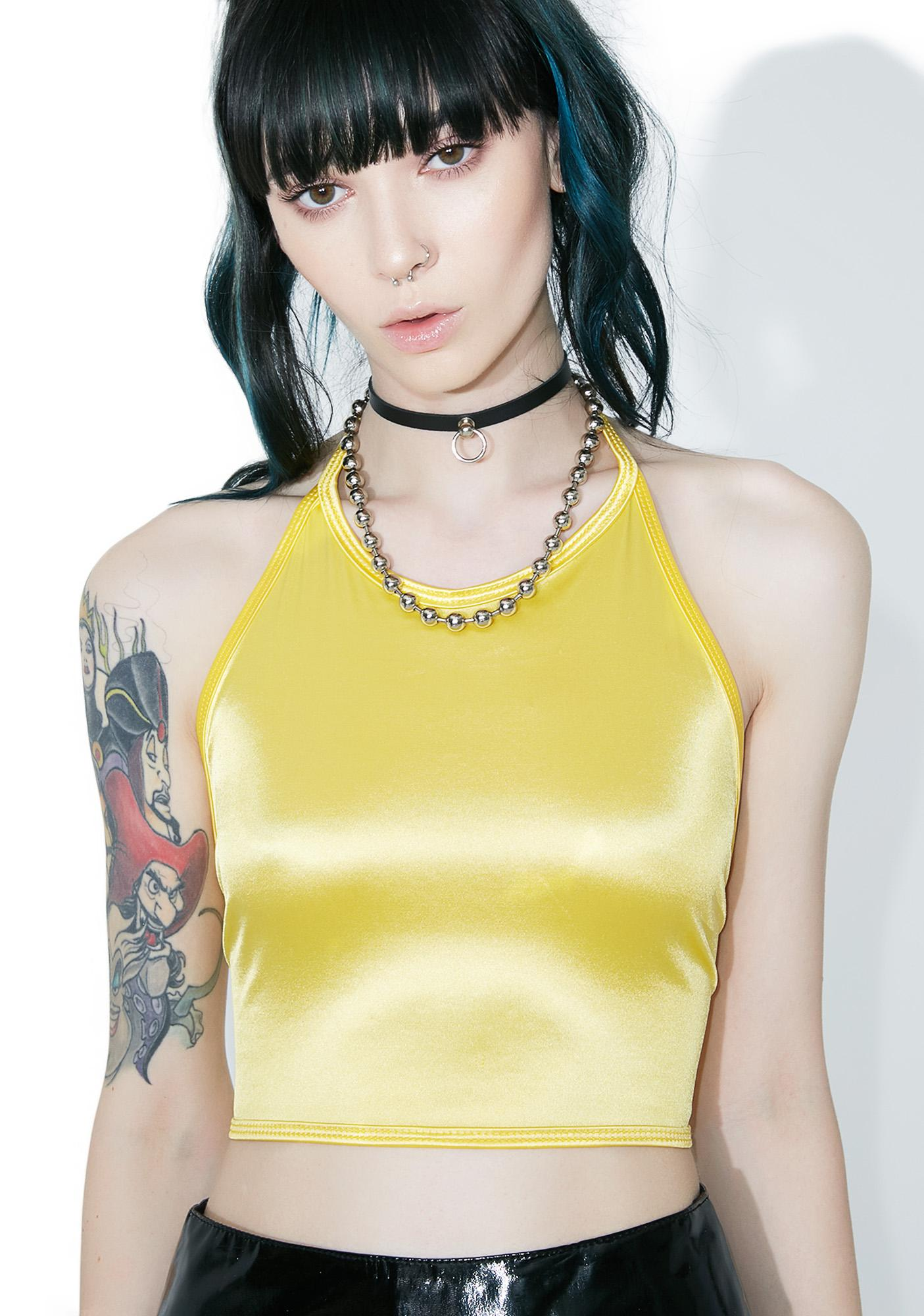 American Deadstock Tragic Kingdom Satin Halter Top