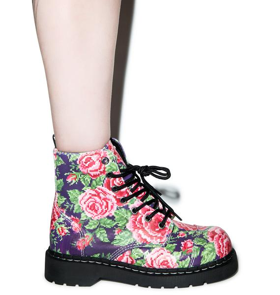 T.U.K. Digital Rose 7 Eye Boots