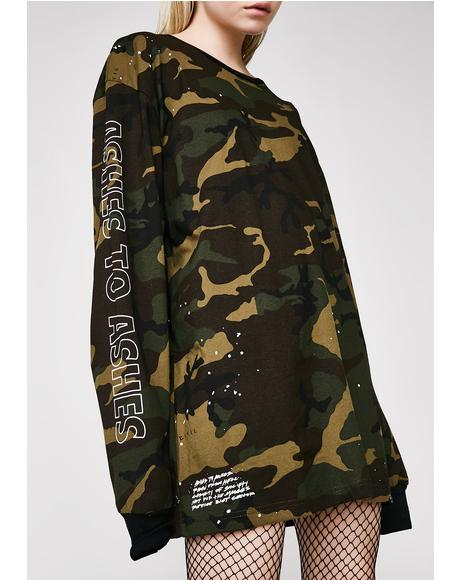 Camo Ashes Oversized Box Long Sleeve Tee