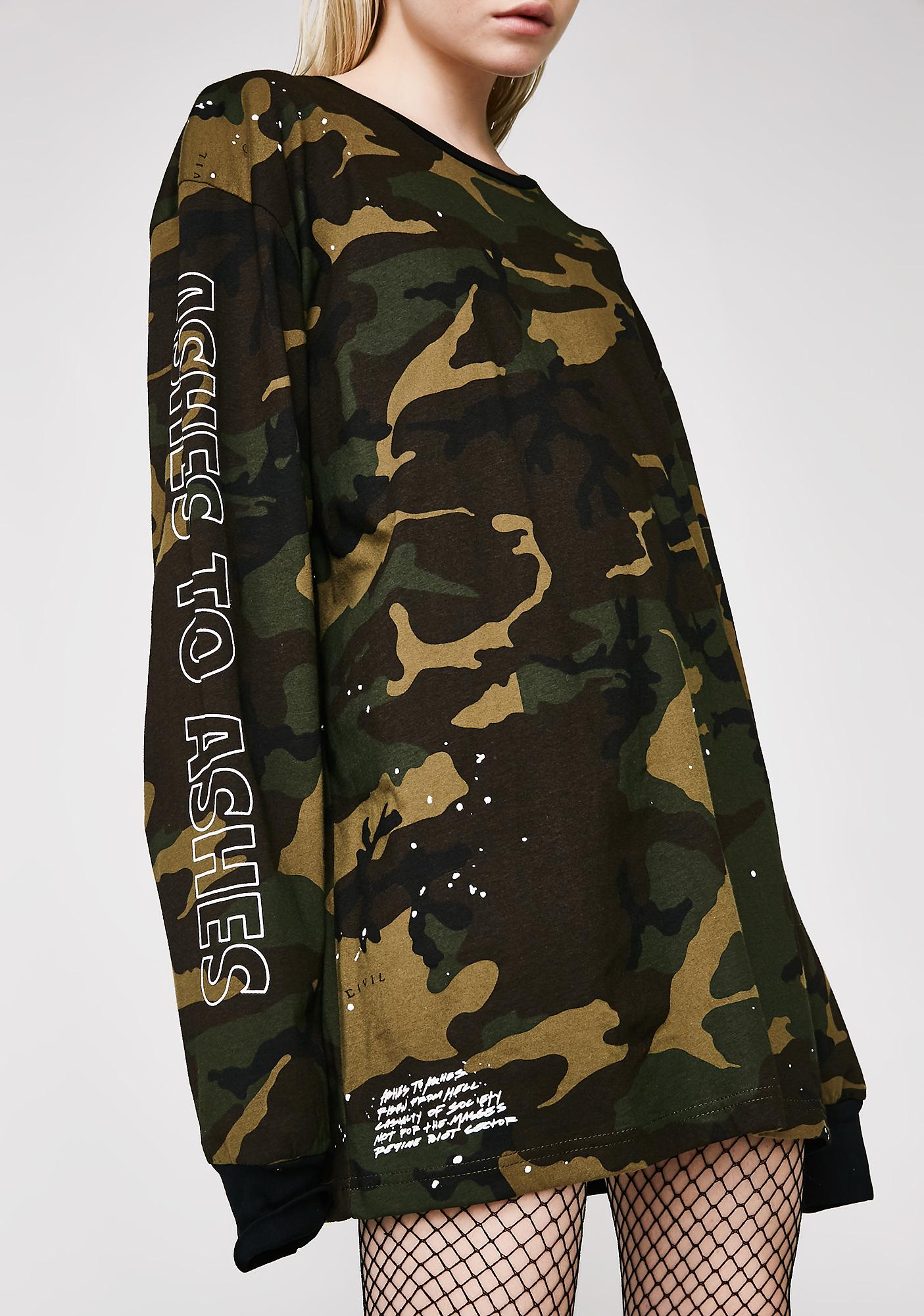 Civil Clothing Camo Ashes Oversized Box Long Sleeve Tee