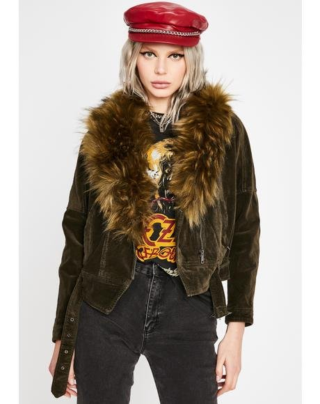 Olive Bewitching Hour Faux Fur Jacket