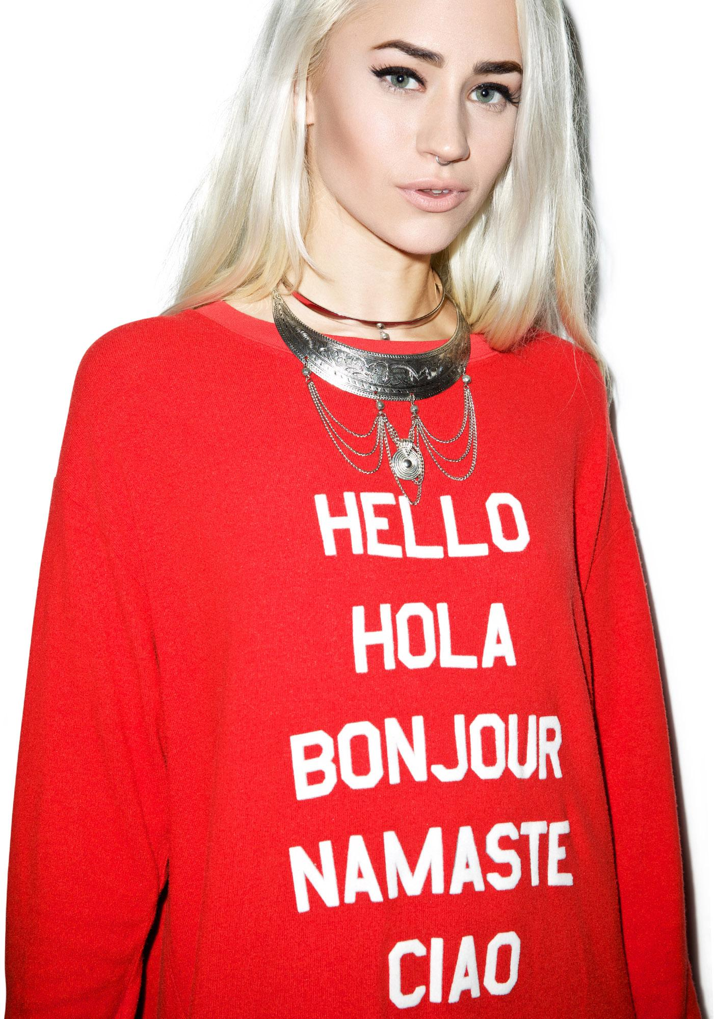 Wildfox Couture Say Hello To Everyone Roadtrip Sweater Dress
