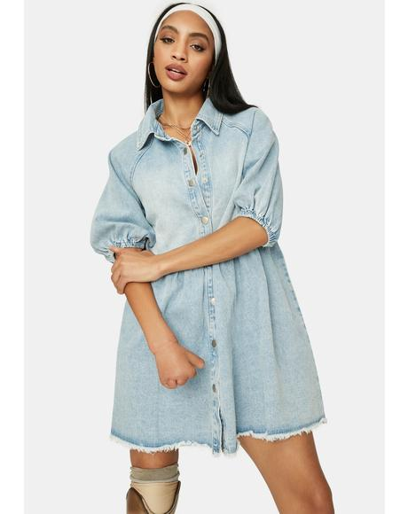 Chill Till You Make It Denim Babydoll Dress