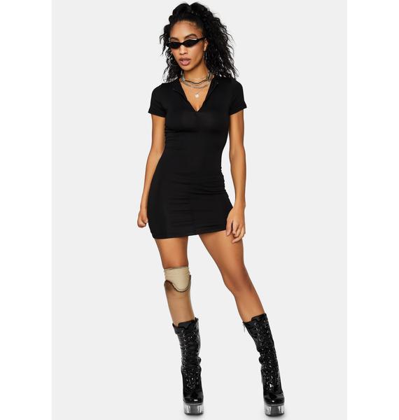 Shadow Side Jersey Zip Front Dress