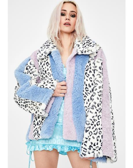 Leopard Multi Patchwork Faux Fur Jacket