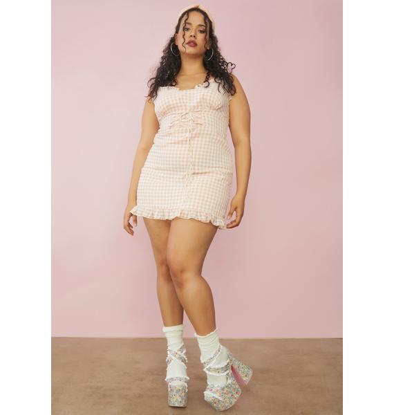 Sugar Thrillz Gingham True Innocent Indulgence Lace Up Dress