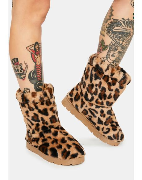 Leopard Better Believe It Furry Boots