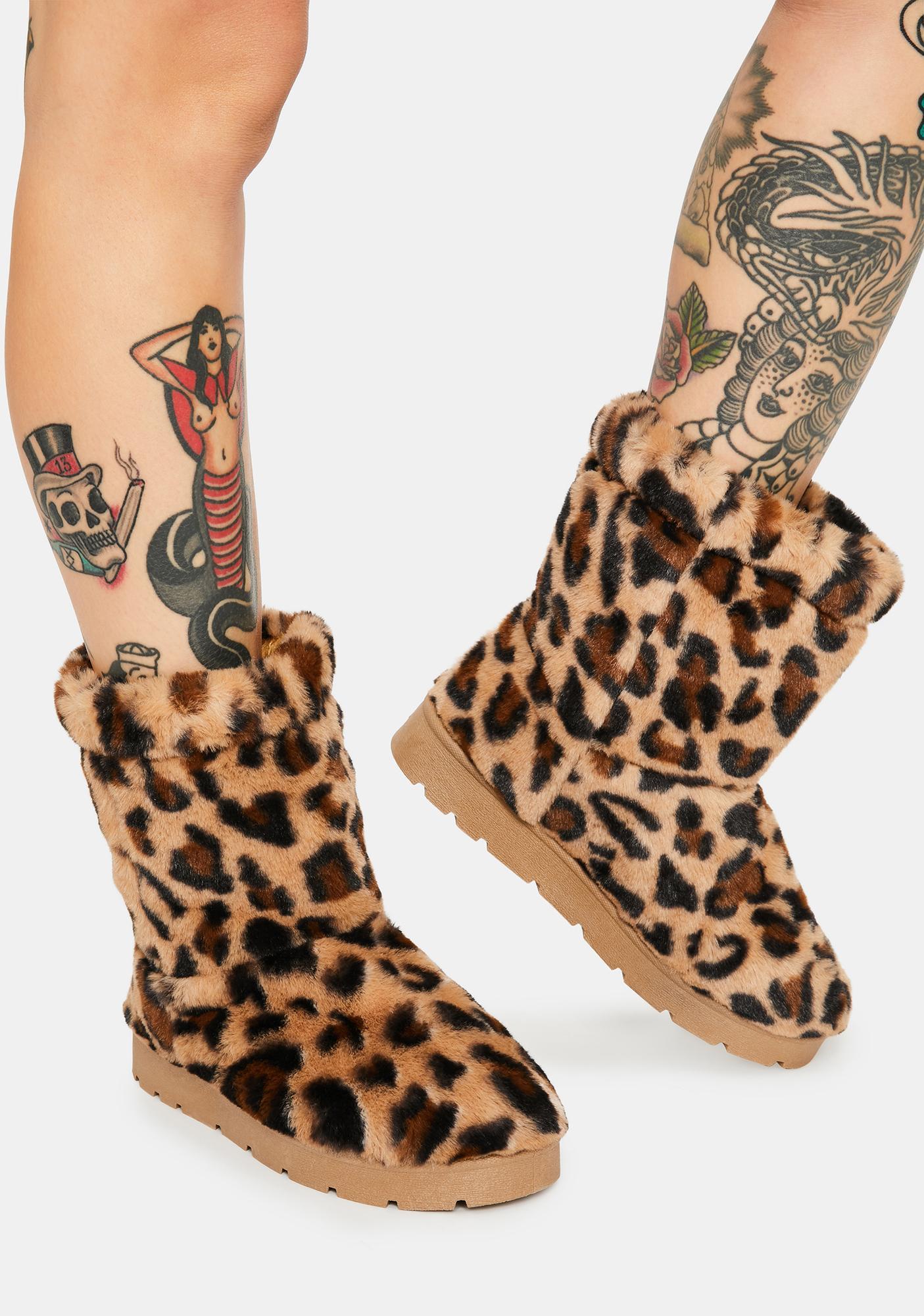 Leopard Better Believe It Furry Boots