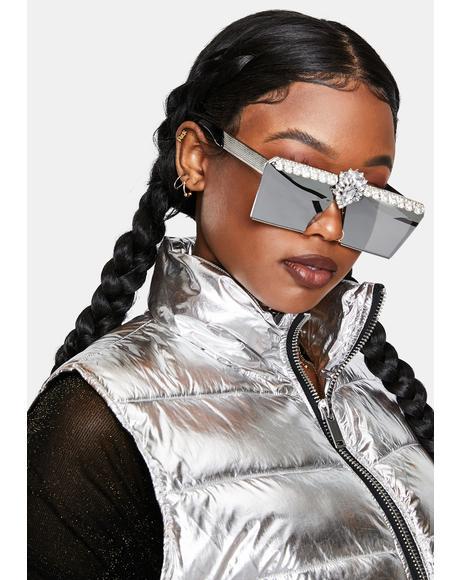 Robot Heart Rhinestone Mirrored Sunglasses