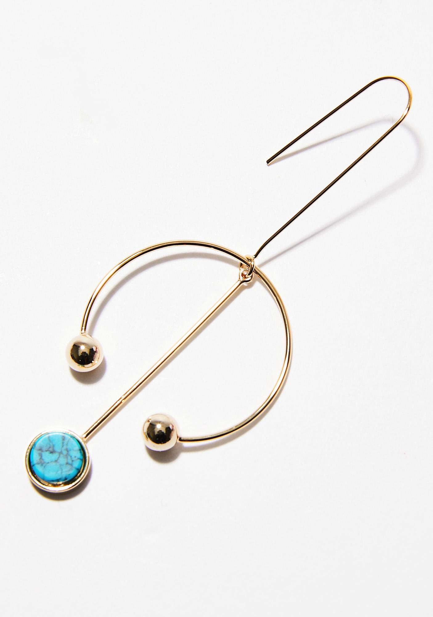 Golden Stone Cold Barbell Babe Earrings