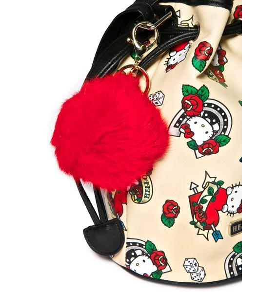 Clueless Red Fluffy Pom Keychain