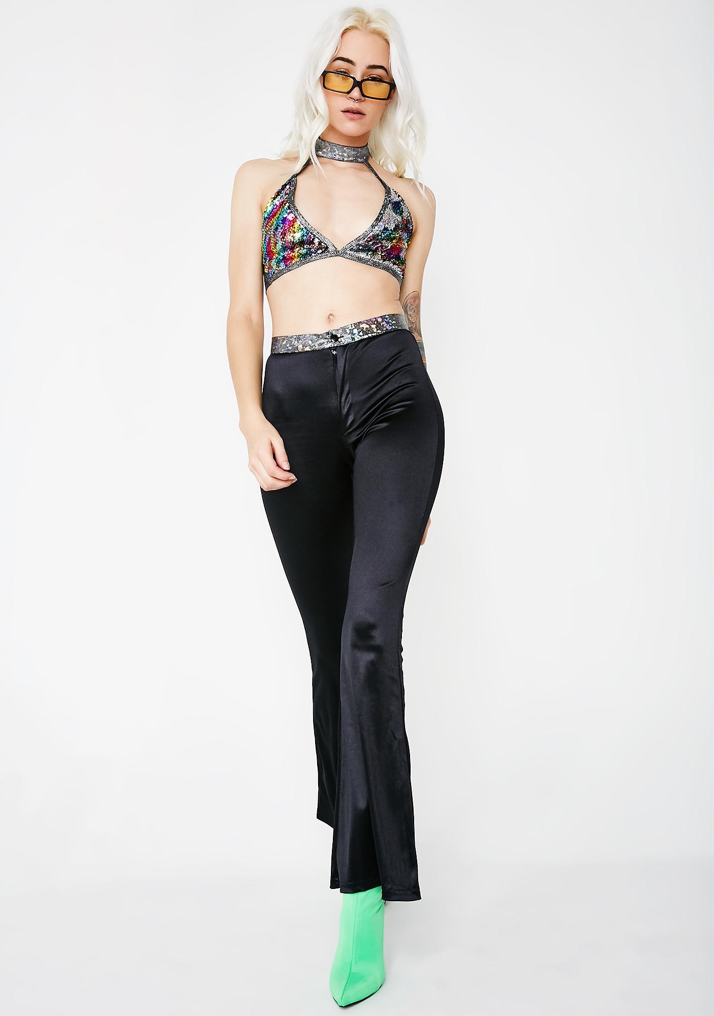American Deadstock Silver Hologram Waist Wide Leg Pants