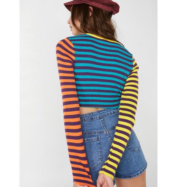 Minga Vivid Stripes Ribbed Top