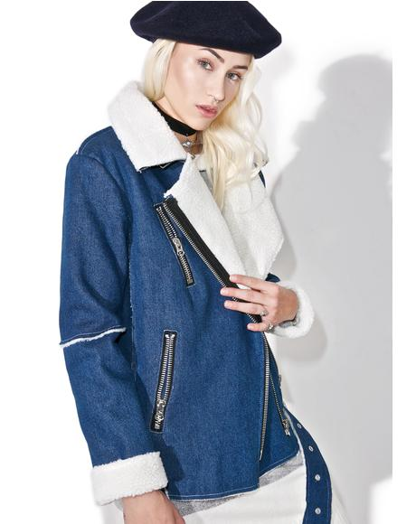 Denim Oversized Biker Jacket