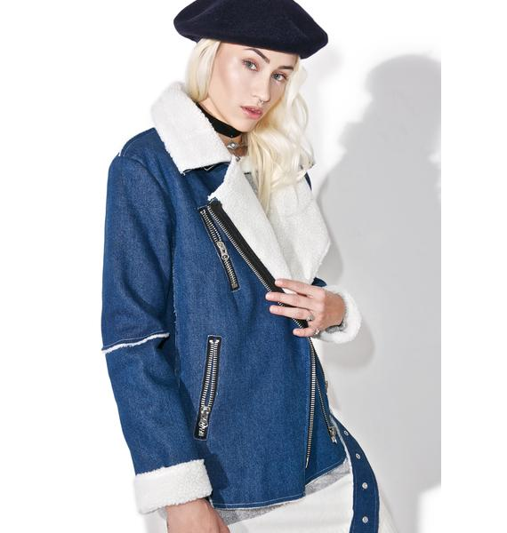J.O.A Denim Oversized Biker Jacket