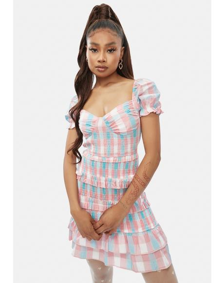 Done It All Plaid Ruffle Dress