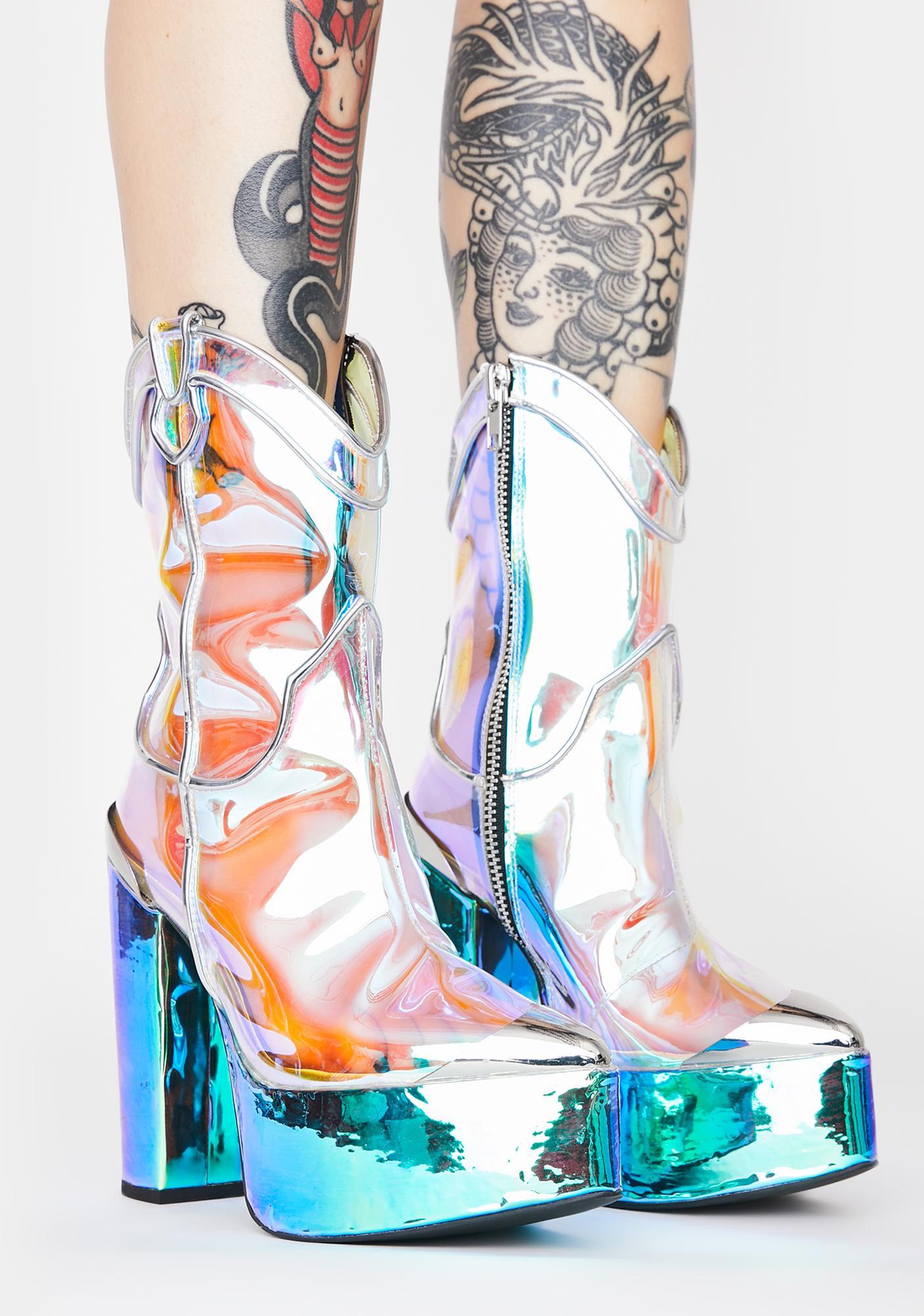 Club Exx Dazed Deputy Holographic Boots