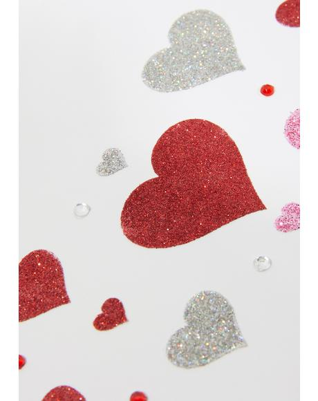 Sugar Baby Glitter Heart Face Stickers