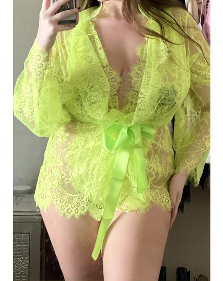 Lime Ur Ravishing Reverie Lace Robe Set