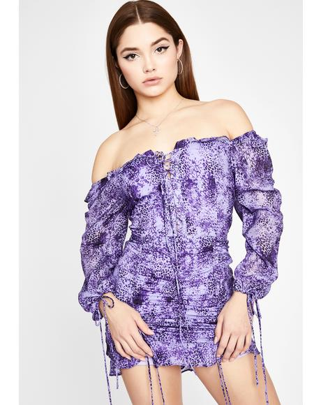 Lilac Chasing Desire Ruched Dress
