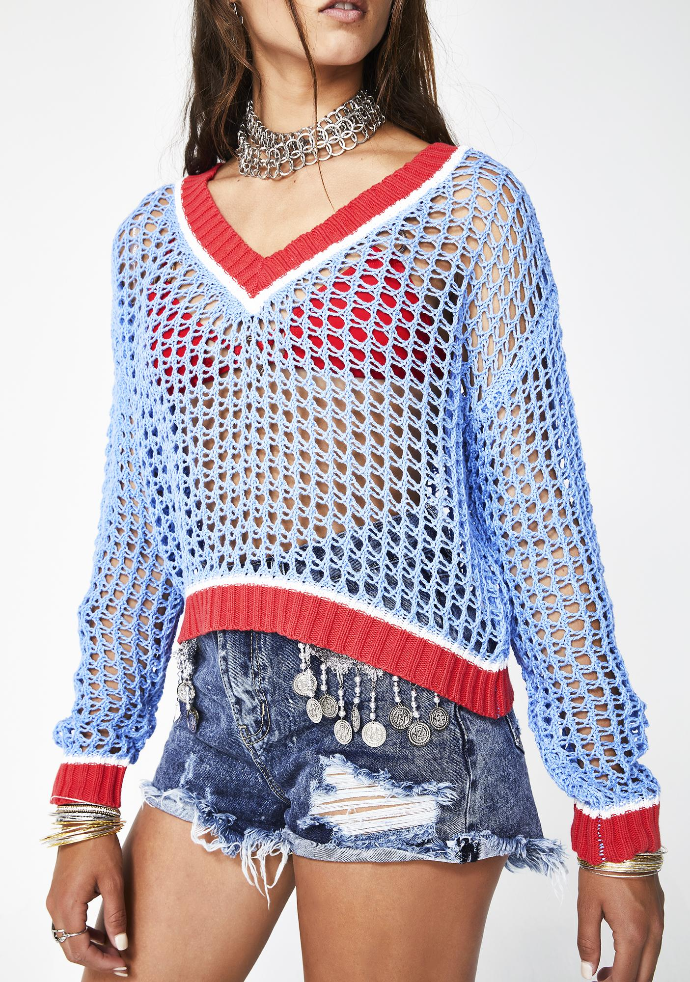 Glamorous Posh Spice Open Knit Sweater