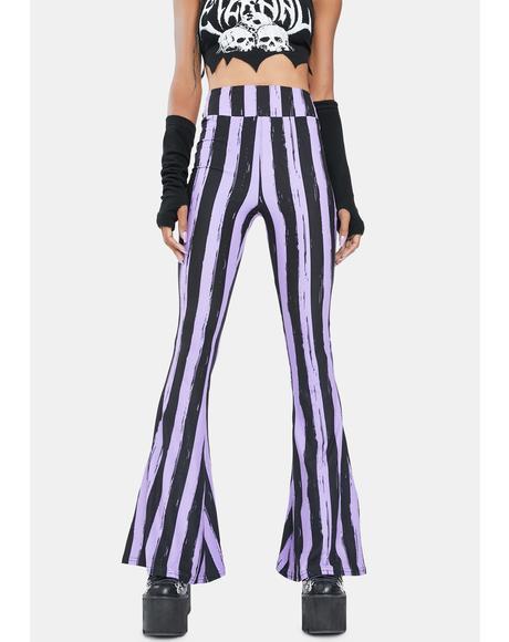 Purple And Black Bell Bottom Pants