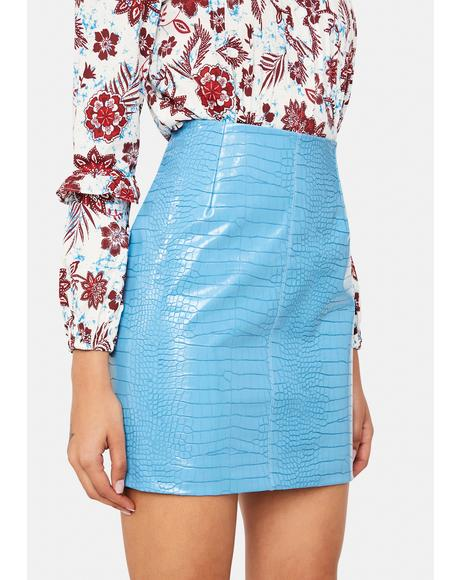 Blue Croc Mini Skirt