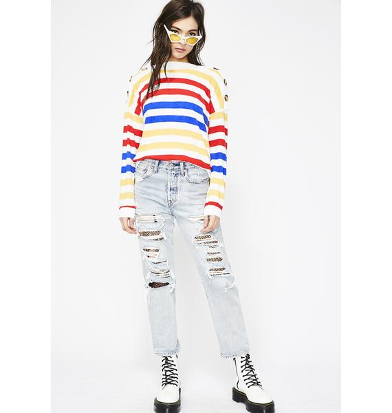 Fire Don't Push My Buttons Stripe Sweater