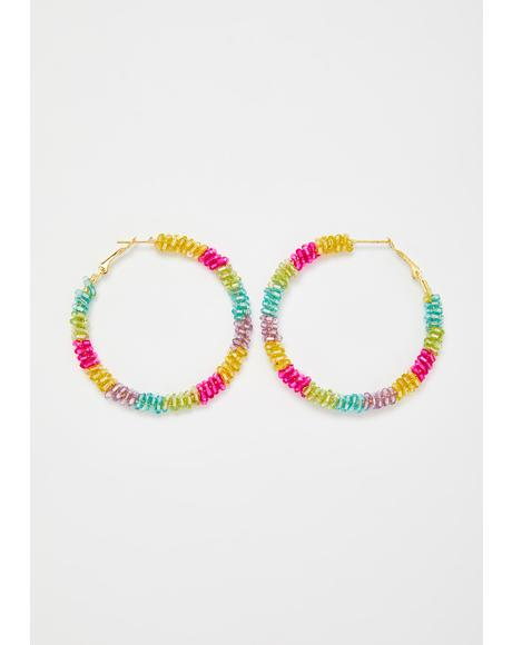 Disco Down Rainbow Beaded Hoop Earrings