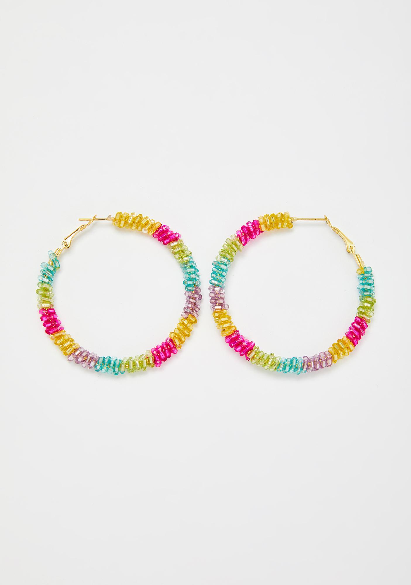Disco Down Rainbow Beaded Hoop Earrings
