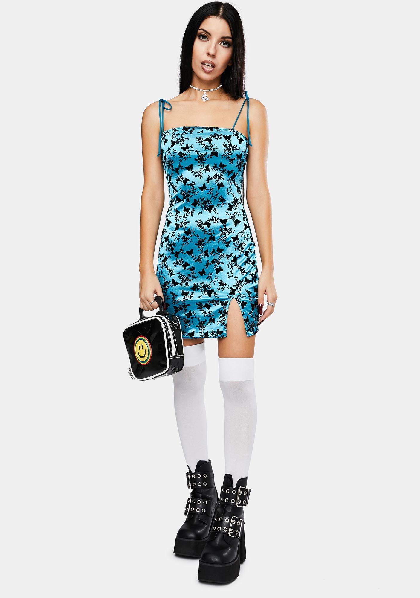 Motel Butterfly Bloom Blue Verso Mini Dress