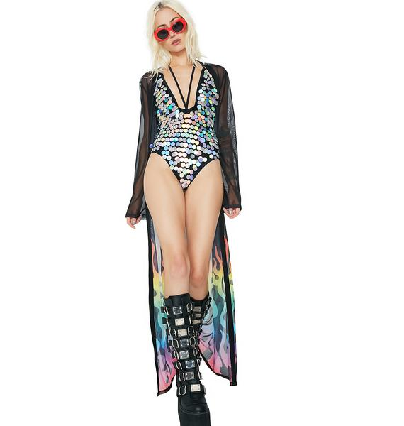 Jaded London Sequin Plunge Neck One Piece