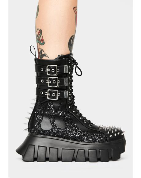 Glitter Buckle Up Tight Ankle Boots