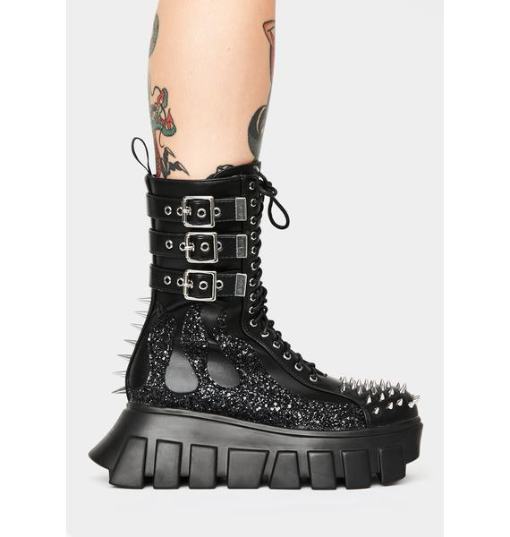 Lamoda Glitter Buckle Up Tight Ankle Boots