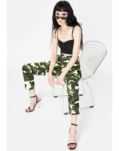 Neon Green Camo Cargo Pants