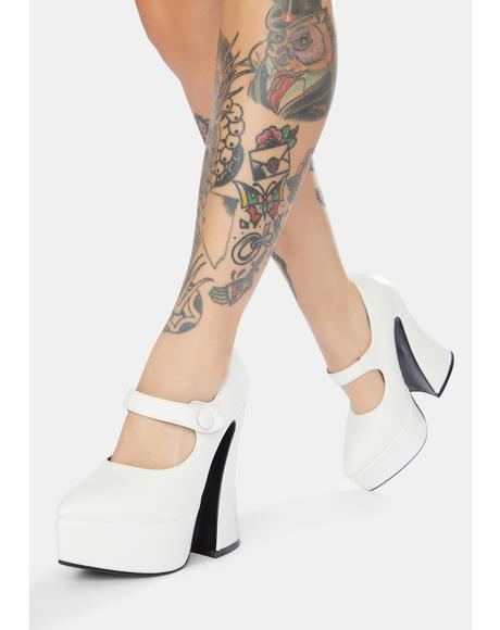 White Patent Entering Paradise Platform Heels