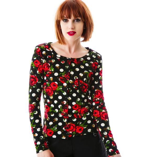 Rosy Nights Polka Dot Cardigan