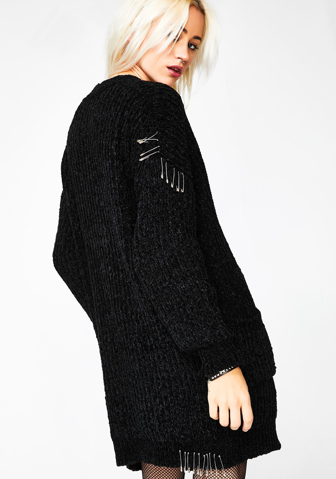 Current Mood Antisocial Climber Safety Pin Cardigan
